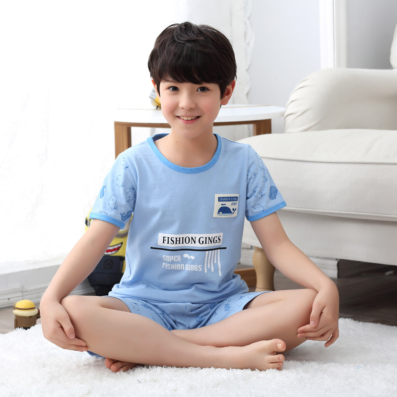 Children's summer cotton short sleeve pajamas boys tracksuit suit thin section kids treasure treasure big virgin kids cartoon