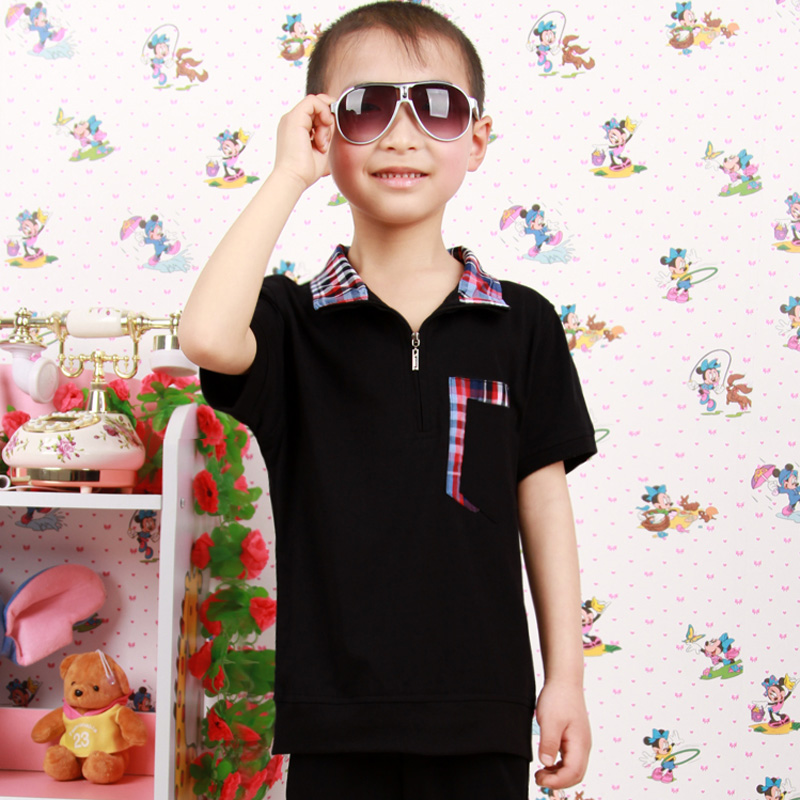 Children's summer free shipping new short sleeve t-shirt casual breathable absorbent children boys and girls pullover sweater coat