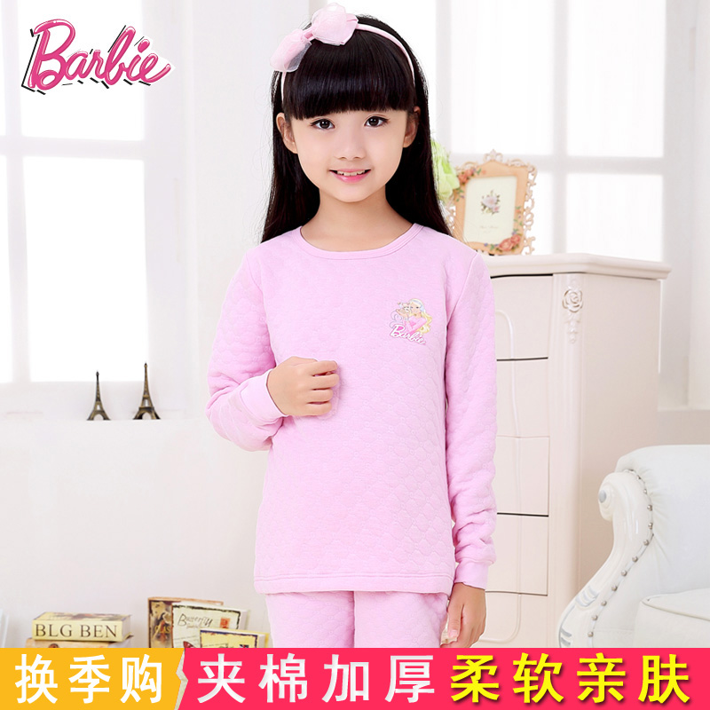 Children's underwear suit girls cotton in the fall and winter children barbie baby girls thick warm underwear suit
