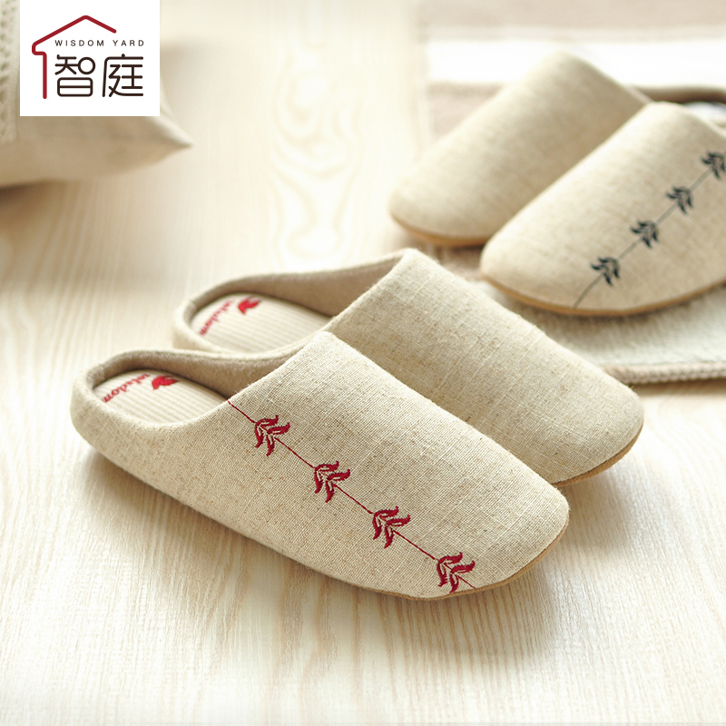 Chilean court japanese minimalist linen embroidered spring and autumn soft bottom couple home winter home slippers cotton slippers men and ladies room
