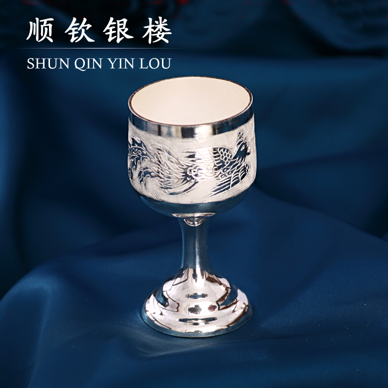 Chin shun s990 fine silver glass dragon/carved handmade silver cup jiuzhong drink for arts and crafts