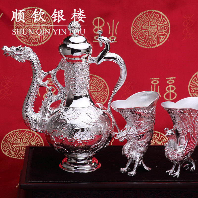 Chin shun s999 fine silver silver jewelry fine silver dragon and phoenix wine set wine wine ornaments