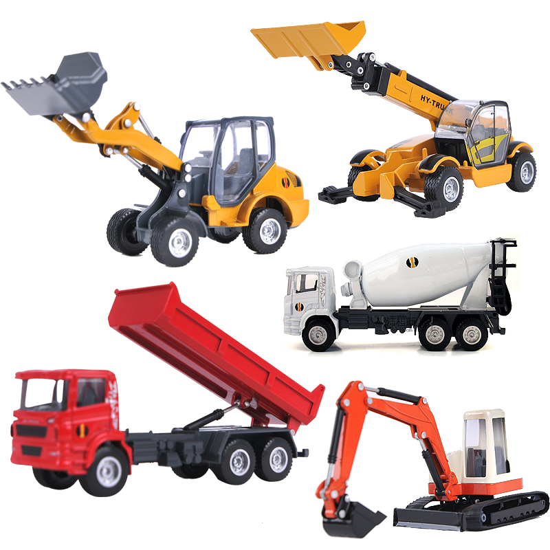 China an engineering simulation alloy car model bulldozer excavator forklift oil tanker truck crane dump truck toy