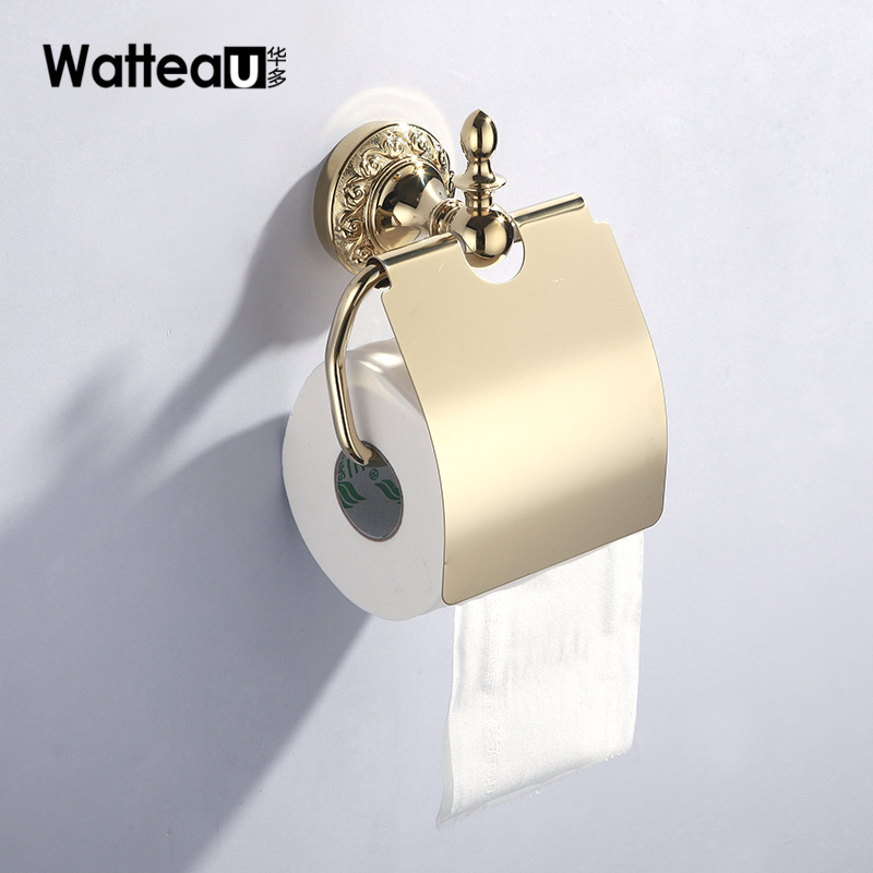 China more sanitary copper pendant towel rack gold tissue box toilet roll holder toilet paper holder bathroom upscale