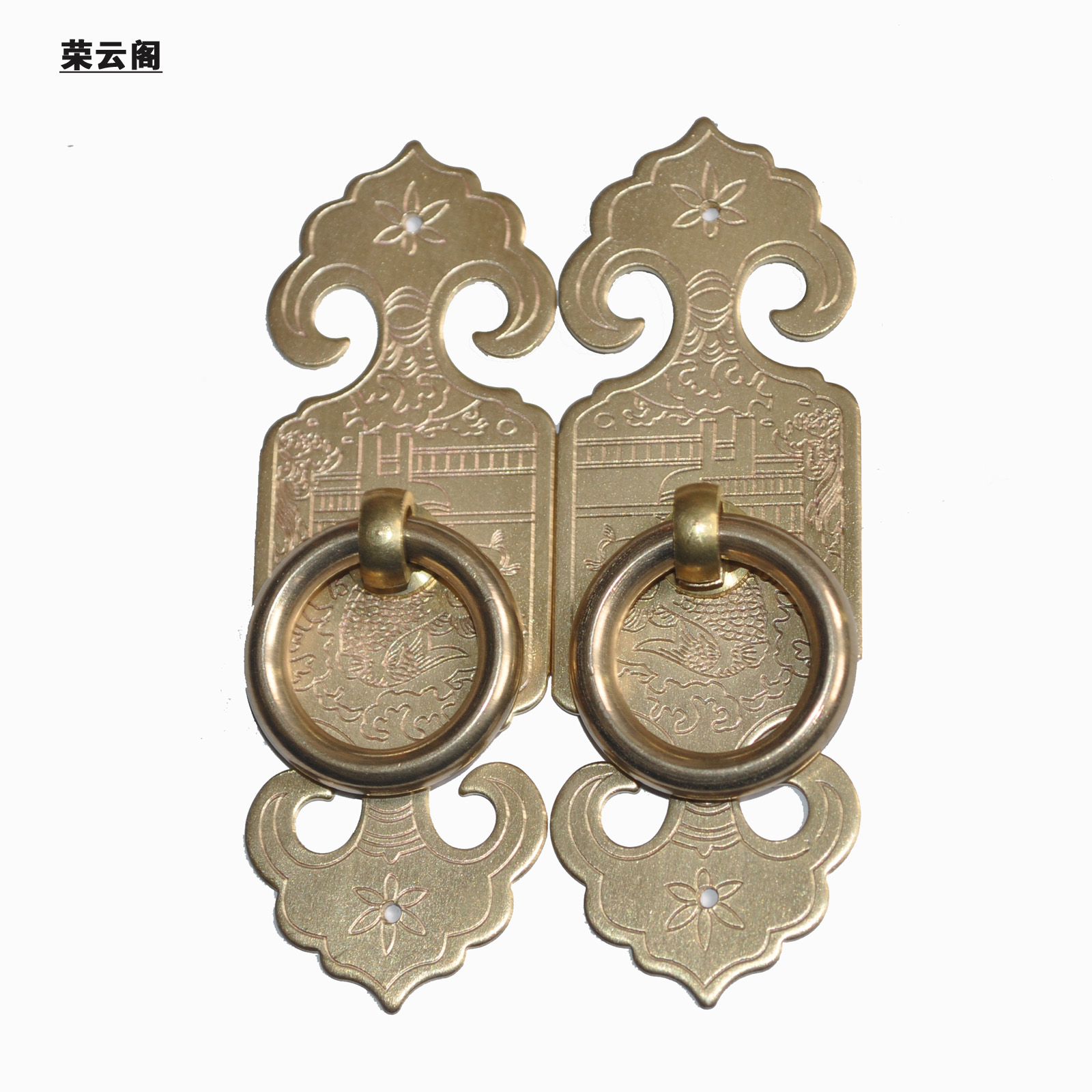 Chinese antique ming and qing furniture accessories doors copper brass carved fish figure handle handle handle small hole handle ag-30