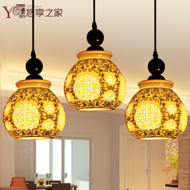 Get Quotations Chinese Ceramic Lamp Chandelier Light Bar Restaurant Lights Three Stairs Dining Room Lighting Porcelain