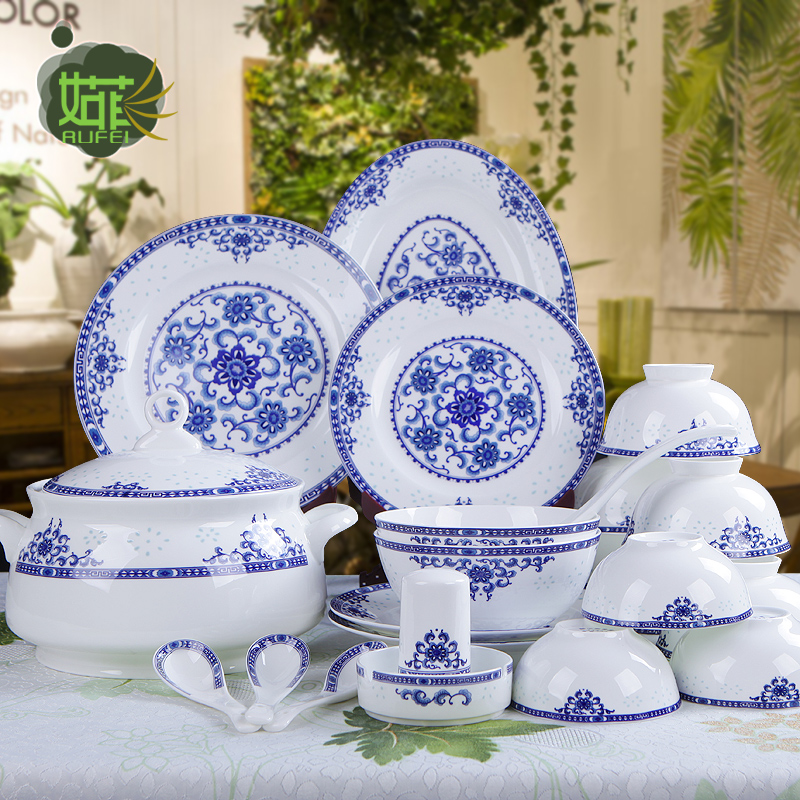 Chinese ceramic tableware set cutlery sets jingdezhen 56 bone china tableware exquisite blue and white porcelain glaze