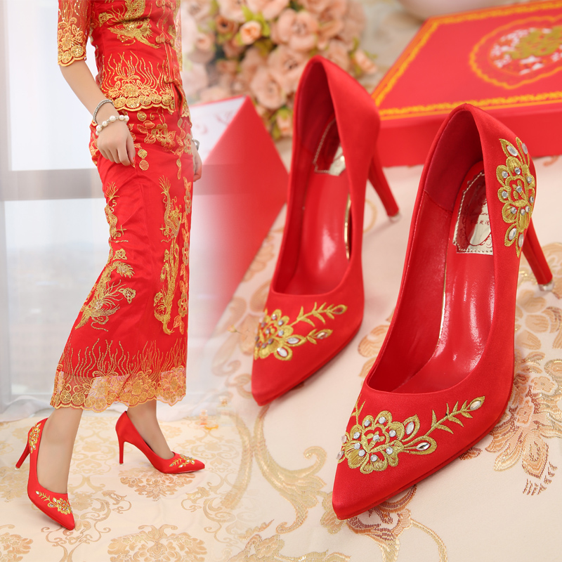 Chinese dragon embroidered wedding shoes new winter shoes diamond pointed high heels shoes red bridal shoes wedding shoes shoes
