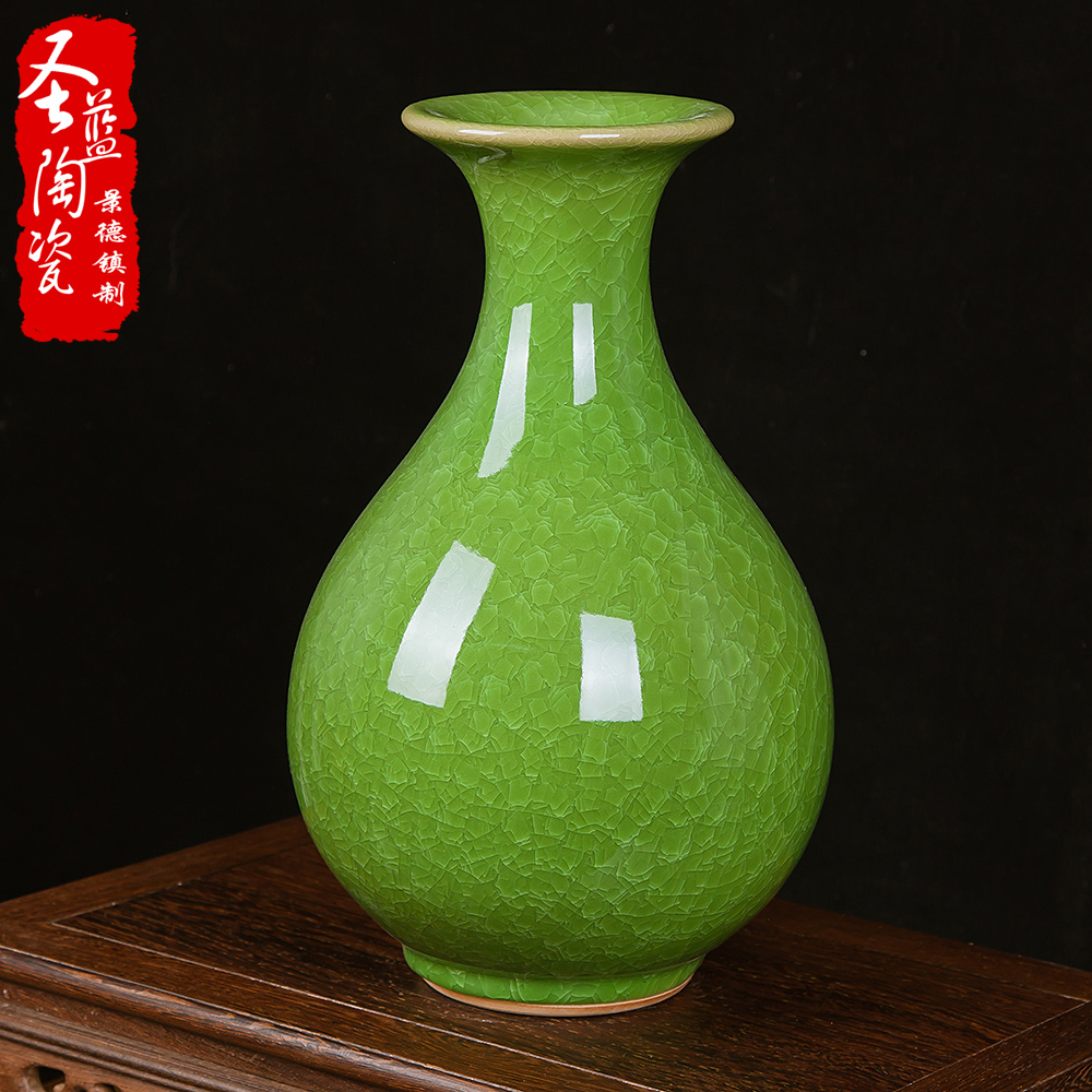 Chinese jingdezhen ceramics kiln opening piece of antique crackle glaze vase classical modern living room decorations ornaments