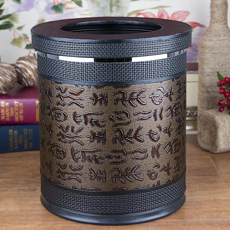 Chinese oracle leather double trash trash european creative home hotel bathroom trash can without cover large