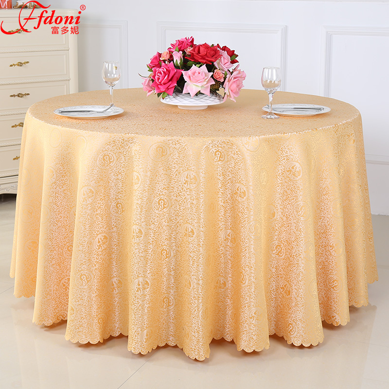 Chinese restaurant tablecloths hotel banquet table cloth tablecloth round coffee table tablecloth tablecloth hotel golden yellow