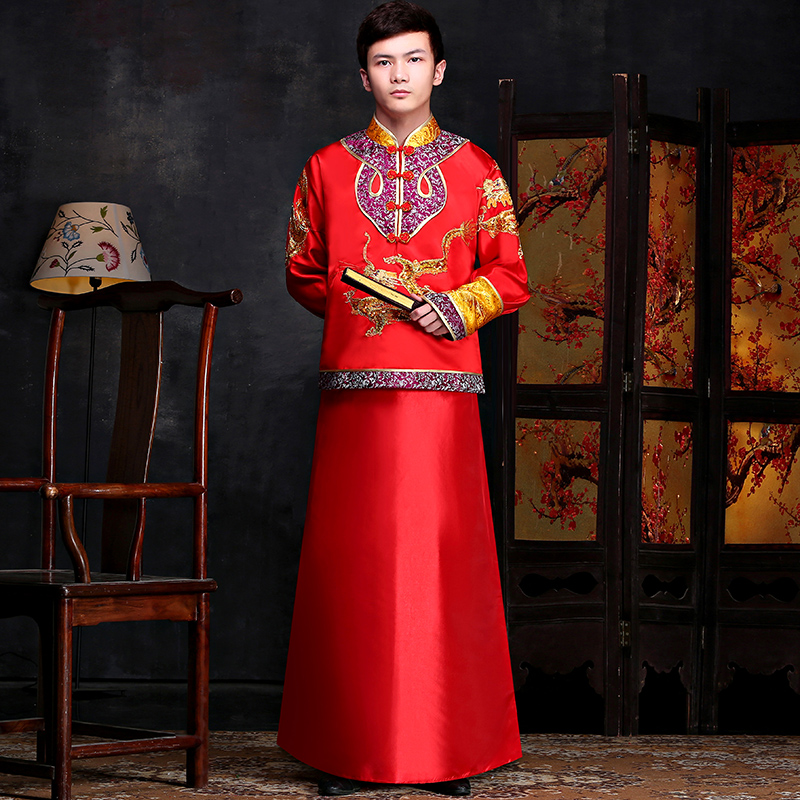 79ce28cde Get Quotations · Chinese wedding dress costume male long traditional costume  groom married men's clothing xiu toast clothing summer