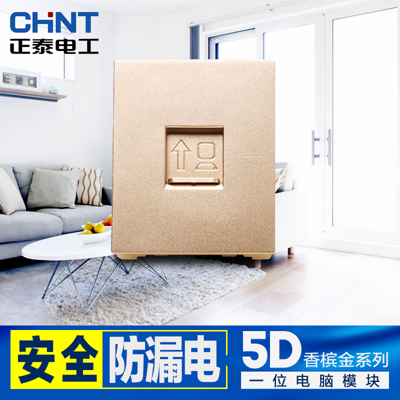 Chint switch socket 118 type computer network module socket 5d hyun steel champagne gold cable outlet