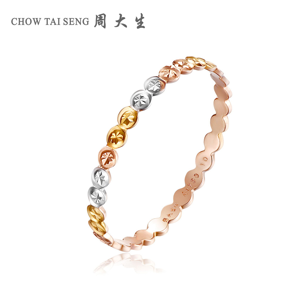 Chow tai seng k gold ring k gold rose gold color gold ring tail ring nvjie simple genuine couple