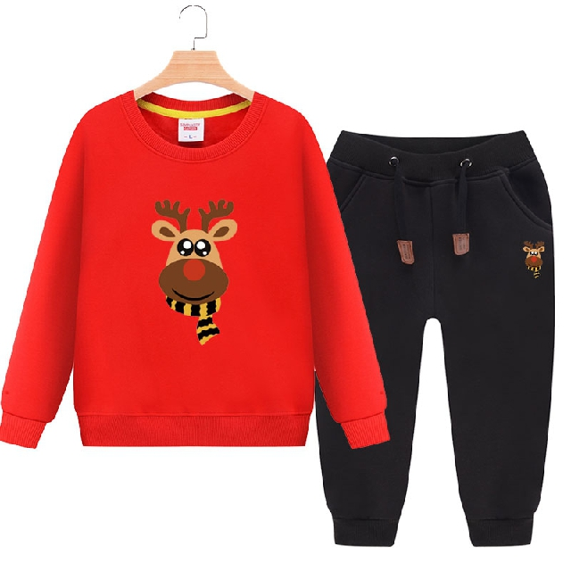 Christmas children's clothing girls fall and winter plus velvet suit autumn 2016 korean version of the new boys winter sweater tide