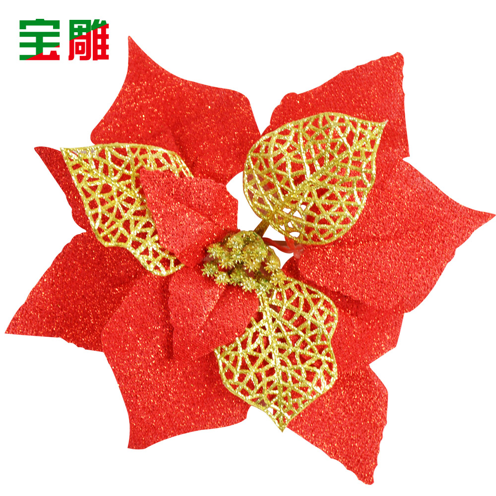 Christmas decorations 20cm red openwork leaves three christmas flower christmas tree decorations christmas ornaments 10g