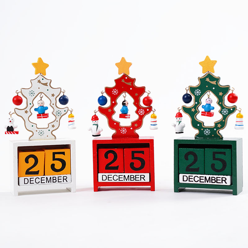 Christmas decorations christmas gifts small wooden desktop calendar diy christmas tree scene decorative window ornaments