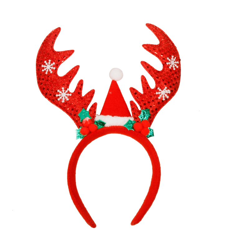 Christmas decorations photography props headdress headband head buckle adult children sequined dress big antlers headband festive supplies