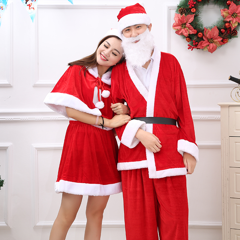 Christmas dress christmas santa claus costume adult clothing for men and women clothes holy christmas elderly gold velvet jacket