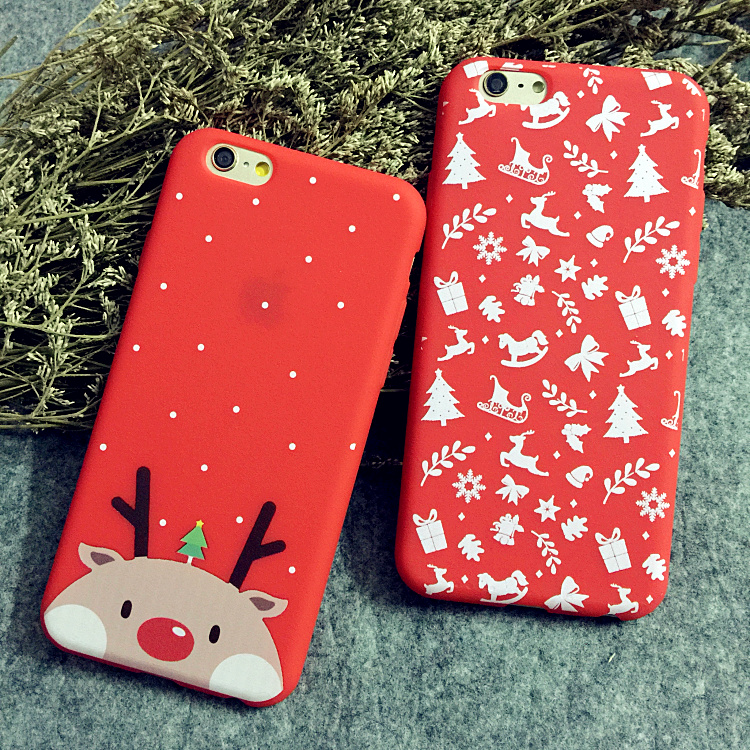 Christmas elk apple s reliefs iphone6plus slim phone shell mobile phone shell silicone protective cover of the new 6 creative