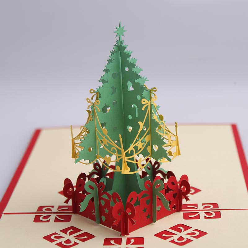 Christmas new year birthday greeting stereoscopic 3d three-dimensional paper sculpture greeting new year greeting card christmas tree