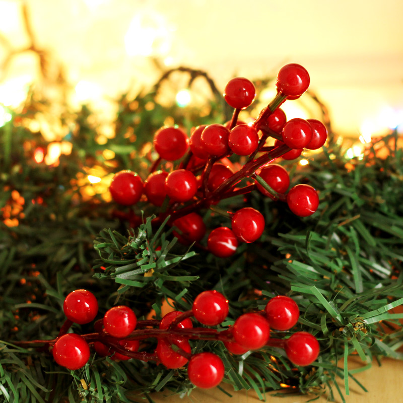 Christmas tree 6 branches fork red berries christmas wreath rattan christmas decorations props decorative accessories diy