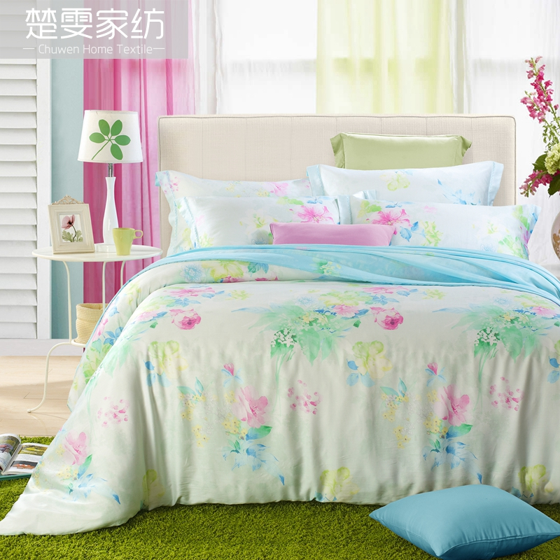 Chu wen textile authentic 16 new spring and summer 100% pure tencel denim reactive printing bedding linen family of four clearance