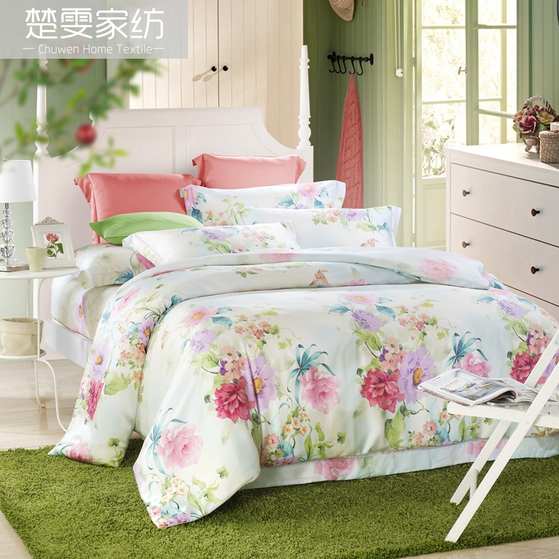 Chu wen textile authentic 16 new spring and summer 100% pure tencel denim reactive printing bedding linen family of four pleasure