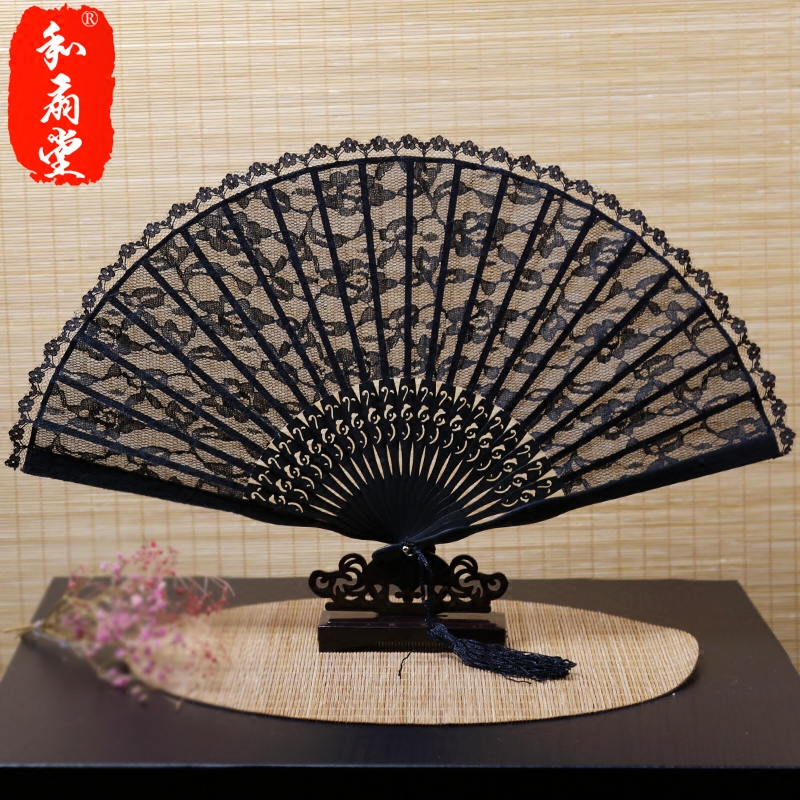 Church exquisite lace ladies ms. retro chinese style folding fan gift fan black red multicolor