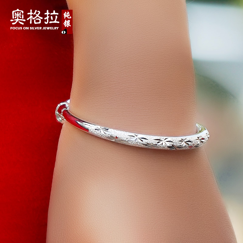 Circular section 999 fine silver sterling silver bracelet female models starry silver bracelet korean jewelry love valentine's day to send his girlfriend a gift