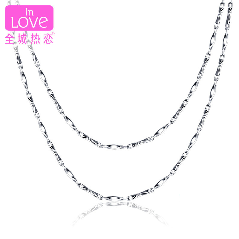 City of love platinum pt999 platinum necklace ms. models genuine gold chain hundred take pendants simple chain