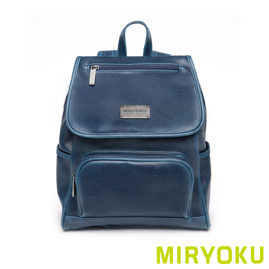 [] Classic retro leather miryoku series/small size more than his back flip pocket bag (blue)