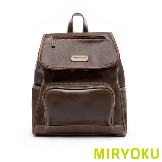 [] Classic retro leather miryoku series/small size more than his back flip pocket bag (green clay)