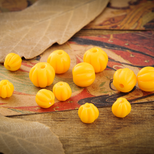 (Clearing dumped) natural handmade old glass pumpkin bead spacer beads loose beads prayer beads loose beads bracelets diy accessories