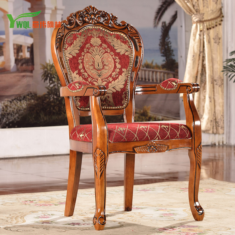 Cloth continental carved wood armchair american retro dining chairs cafe chair dining chair hotel clubs