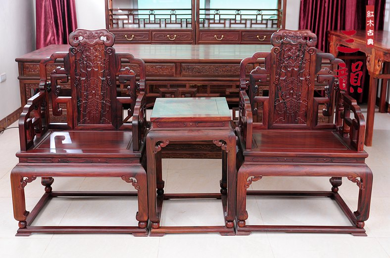 Cochin rosewood mahogany wood chinese antique/ming style antique furniture/laos red acid branch square surrounded by four sets of 3