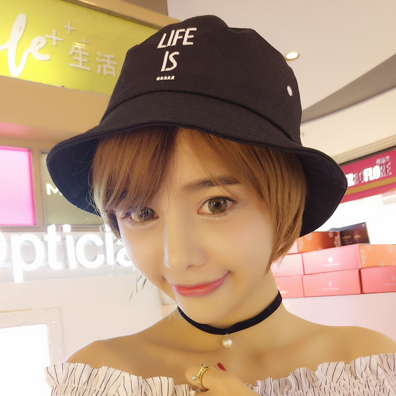 5959131d Get Quotations · Collapsible sun hat bucket hats letters casual cute new  fishing hat sun hat ladies hat female
