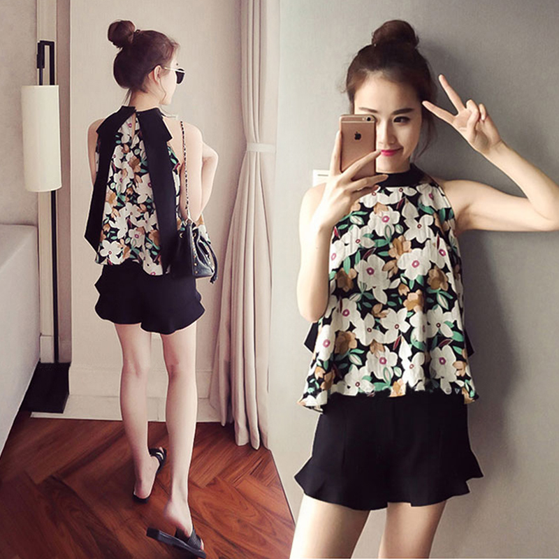 [Collar coupon minus 10 yuan] fashion casual white shorts suit women's round neck sleeveless shirt printing high waist black