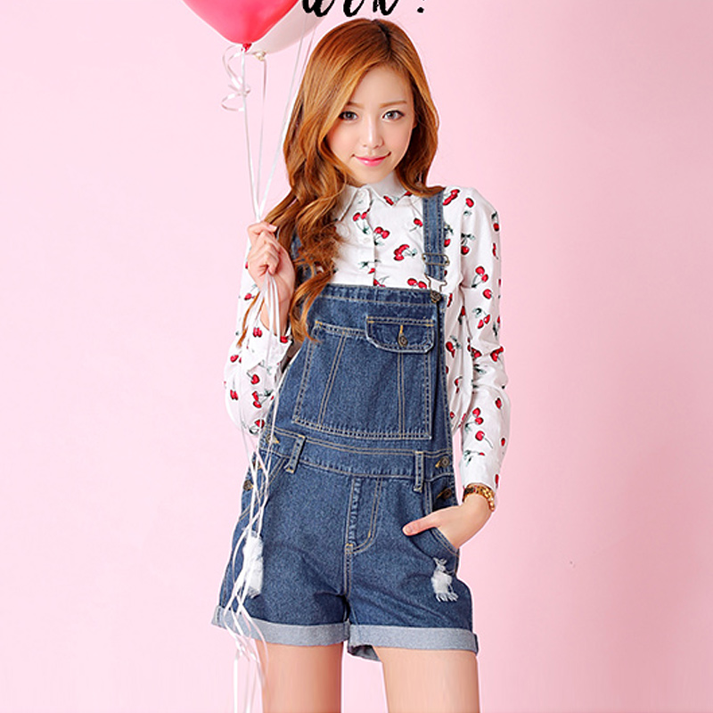 College girl student college wind sweet fashion casual piece pants hot pants wild was thin denim shorts female strap