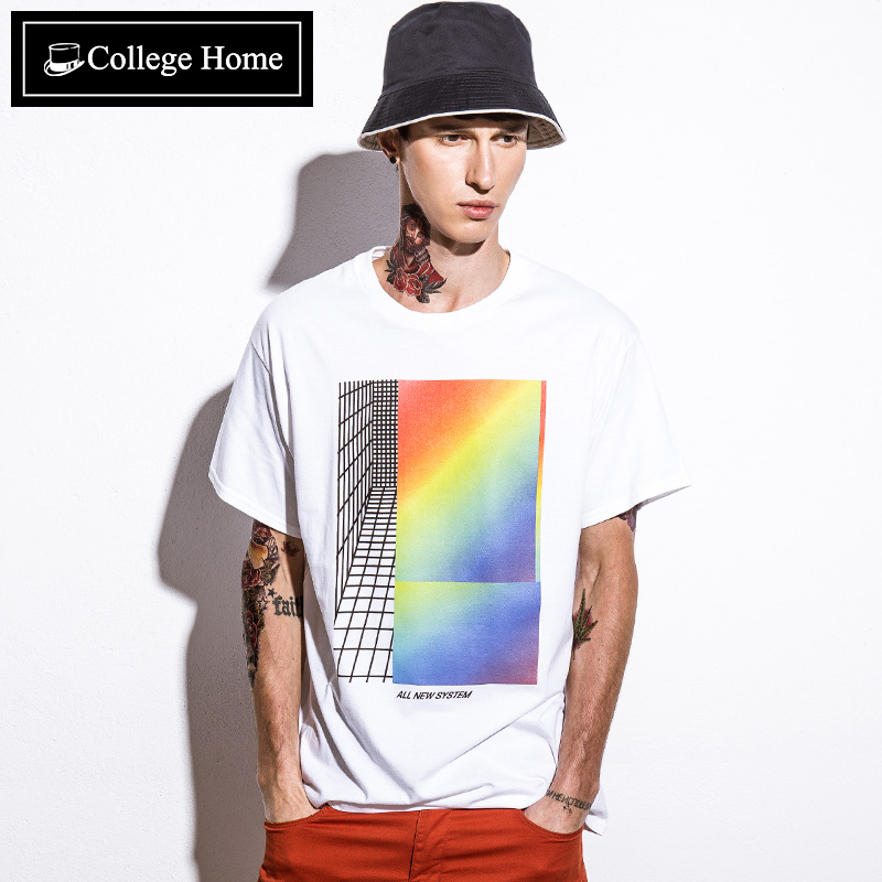 College home tide brand popular men's men's japanese tide men round neck short sleeve t-shirt tshirt T2439