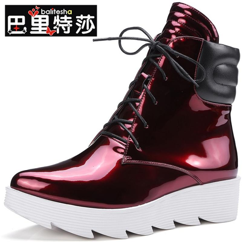 College wind casual light leather boots martin boots spell color fashion front lace duantong thick bottom waterproof shoes fashion women's boots