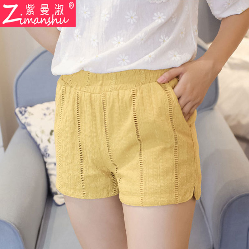 College wind new korean candy colored cotton split wide leg pants jacquard thread empty loose tight waist shorts female wild tide