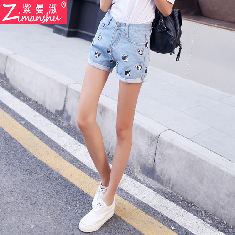 College wind summer teen cute puppy printing curling straight denim shorts  korean girls wild hot pants