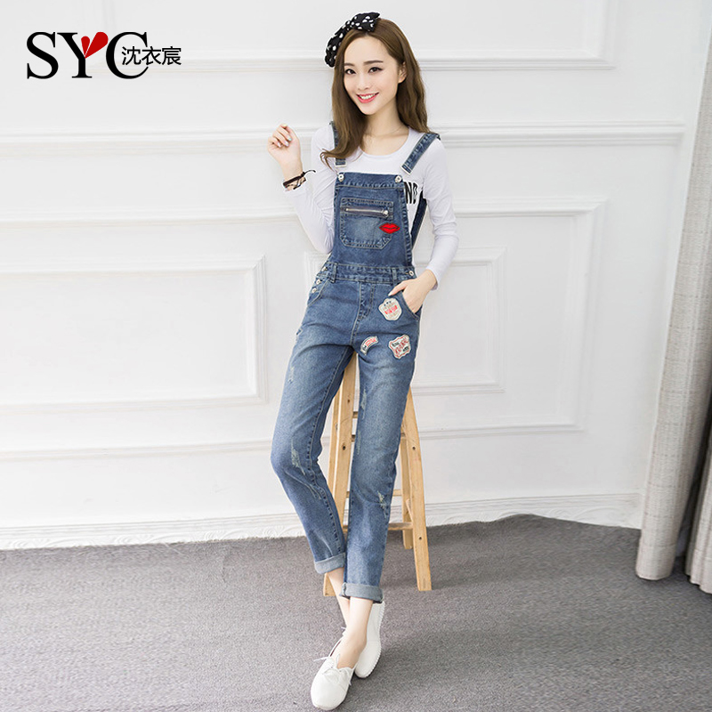 college wind summer teen girls junior high school students korean girls jeans overalls piece pants slim - Small Teen Pics