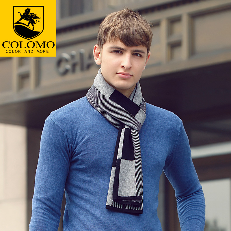 Colomo new autumn and winter men's thick plaid wool scarf wool scarf upscale men's business shipping