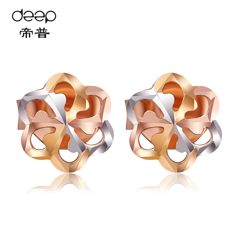 Color gold earrings female k rose gold hollow flower color gold earrings gold earrings authentic korean sweet simplicity