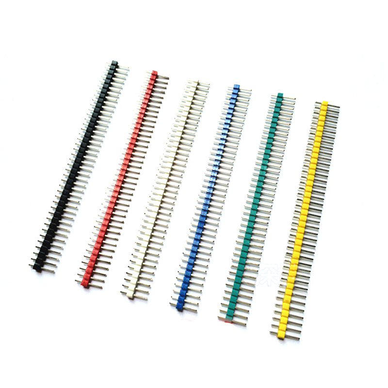 Color pin spacing 2.54mm single row pin straight needle 1*40 p red/yellow/blue/green/ White/black