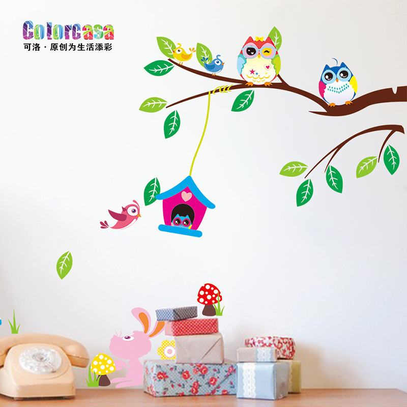 Colorcasa owl children's room wall stickers living room bedroom background wall sticker wall stickers plane