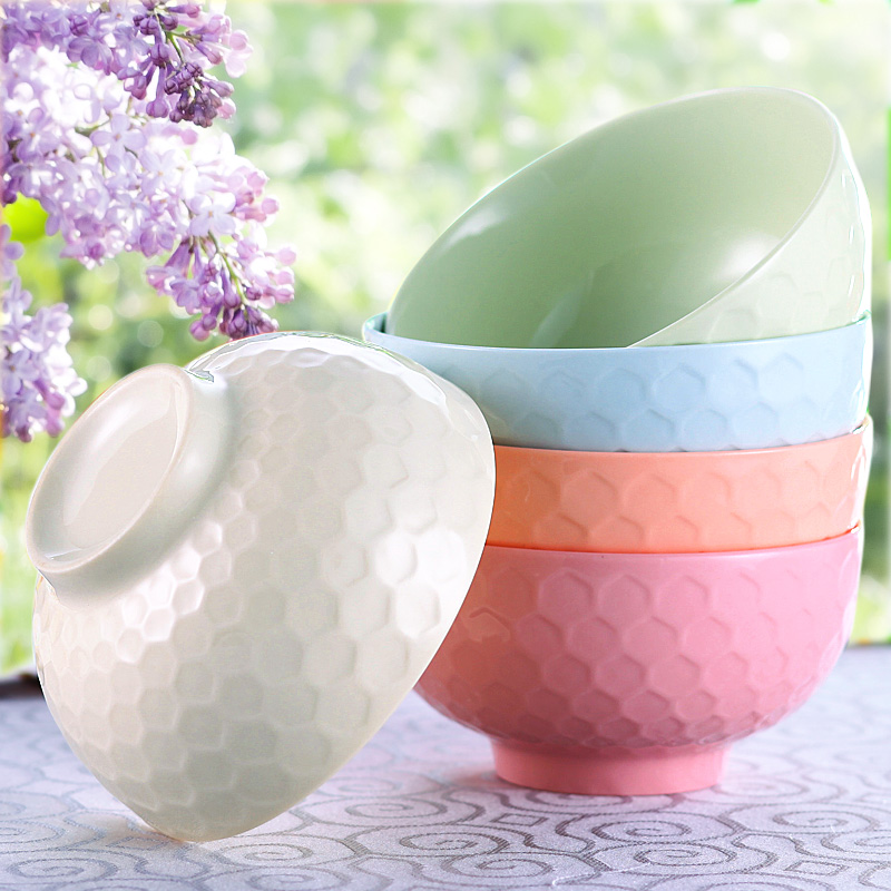 Colored ceramic bowl suits korean rice bowl colored bowl bowl bowl a couple of japanese cute colorful candy colored ceramic bowl