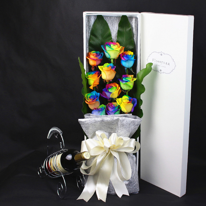 colorful roses shanghai imported rainbow roses day gift birthday flower delivery nationwide beijing suzhou